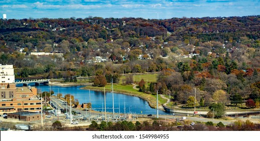 A aerial view of Silver Lake on the Zumbro river, Rochester, Minnesota