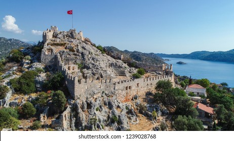 Aerial view of 'Simena' Ancient City and Mediterranean seacoast in the 'Kekova' town/Antalya-TURKEY