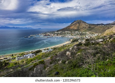 Aerial view of Simon's Town and its harbor. Simon's Town (Simonstad or Simonstown) - town near Cape Town, it is located on shores of False Bay, on eastern side of the Cape Peninsula. South Africa.