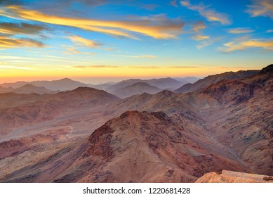 Aerial view of Sinai mountains in Egypt from Mount Moses at sunrise.