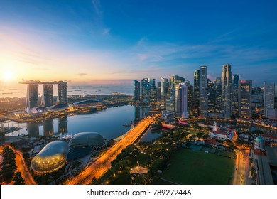 Aerial view of Singapore business district and city at twilight in Singapore, Asia.