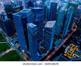 aerial view of singapore down town area in night time