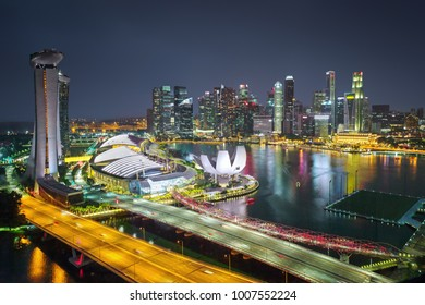 Aerial view of Singapore downtown at night