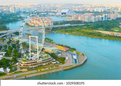 Aerial view of Singapore Flyer and river