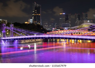 Aerial view of Singapore night city at Boat Quay