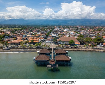 Aerial view of Singaraja and its pier in Bali, Indonesia