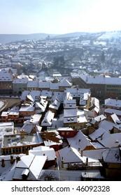An Aerial view of Singisoara Romania.