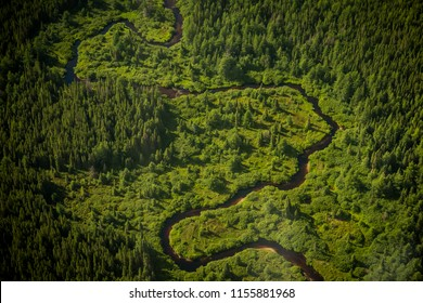 Aerial view of a sinuous river in Quebec, Canada
