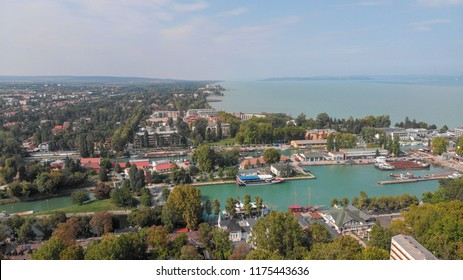 Aerial view of Siofok,Town on the lake Balaton in the Hungary. Balaton is the largest lake of the central Europe.
