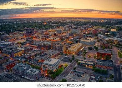Aerial View of Sioux Falls, South Dakota at Sunset