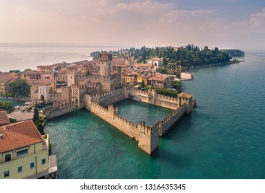 Aerial view of Sirmione, an ancient village on southern Garda Lake. Brescia province, Lombardy, ItalY