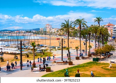 Aerial view of Sitges, Spain beach and promenade area of the popular touristic town in Costa Dorada. The coastal city in Catalonia is famous for its Film Festival and Carnival