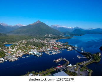 Aerial view of Sitka, Alaska with Verstovia Mt. in the background