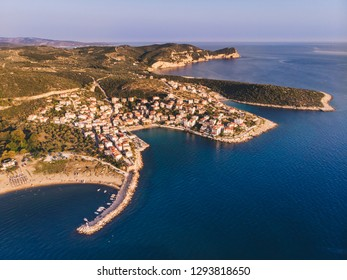 Aerial view of Skala Marion town in Thasos Island, Greece, at sunset