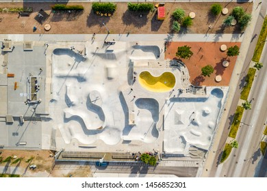 Aerial view of the skate park in Malmo, Western Harbour district. Largest skate park in Europe.