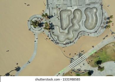 Aerial view of a skating park in Venice Beach California