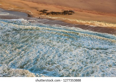 Aerial view of Skelton Coast, Namib Naukluft Nat Park, Namib Desert, Namibia