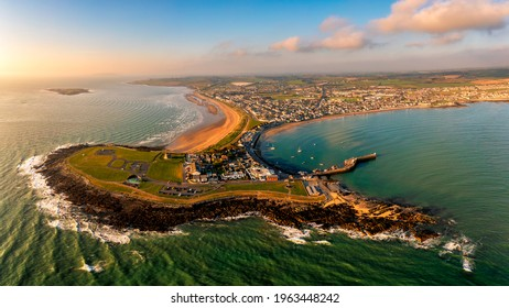 Aerial view Skerries is a coastal town in Fingal, Ireland. Historically Skerries was a fishing port and later a centre of hand embroidery. Dublin Ireland St. Patrick's colt shenick islands