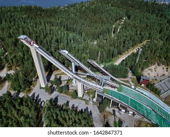 Aerial View of Ski Jump in Lahti City, Finland
