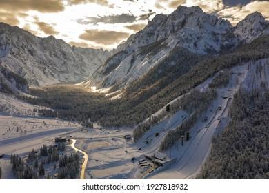Aerial view of Ski Jump in Planica, Slovenia at Ratece near Kranjska gora in winter with snow. - Shutterstock ID 1927818932