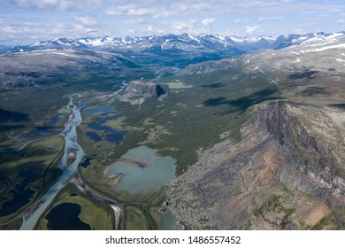 "aerial view from skierffe summit in the ""Sarek Nationalpar""  in Lapland at a clear sunny day"