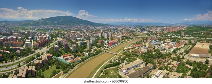 Aerial view of Skopje city the capital city of Macedonia