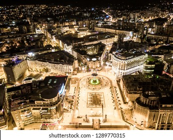 Aerial view of Skopje city center, Drone view of the center square in Skopje, Macedonia