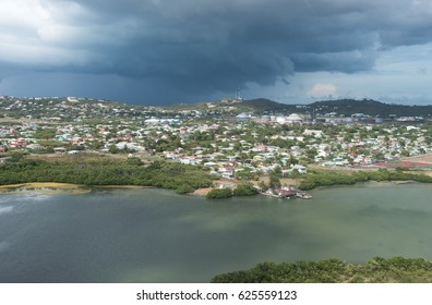 Aerial View from Sky of Antigua Island in Caribbean