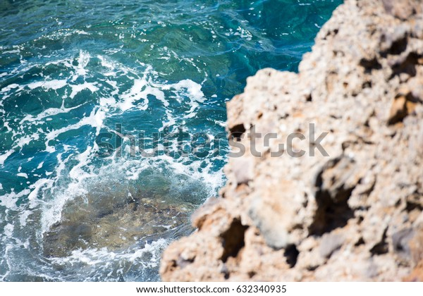 Aerial View from Sky of Antigua Island Rocky Beach and Waves