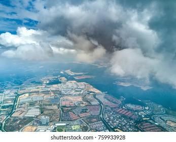 Aerial view of sky cloud.