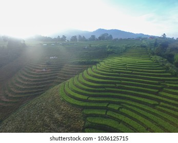 Aerial view from sky to earth by drone a nice scenery on Chiang mai, Thailand