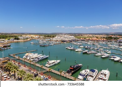 Aerial. View from the sky of marina and yacht Vilamoura. Faro.