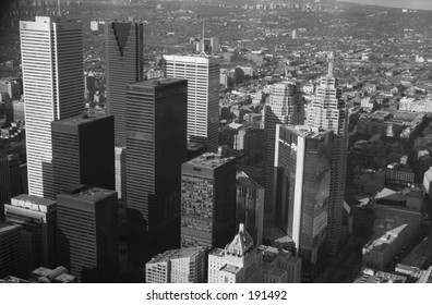 Aerial view of sky scrapers,  Toronto,  Canada (black and white)