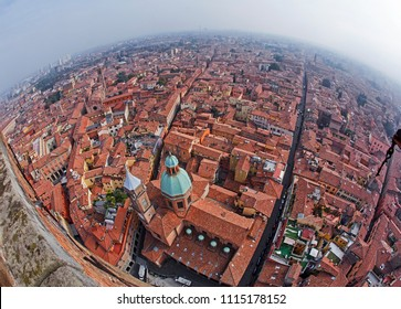 Aerial view of the skyline of Bologna with fish eye lens with Saint Bartholomew's church