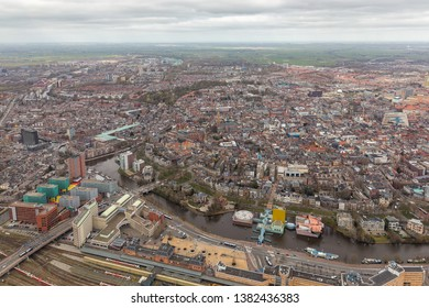 Aerial view skyline city of Goningen, The Netherlands