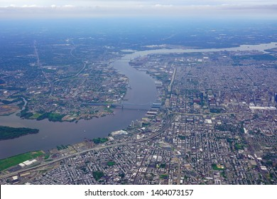 Aerial view of the skyline of the city of Philadelphia and the surrounding areas in Pennsylvania, United States
