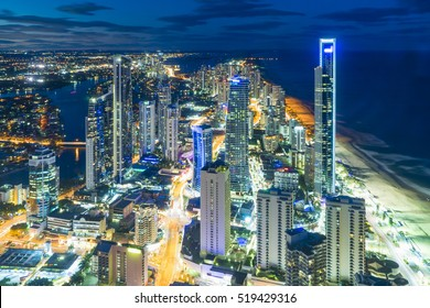 Aerial view of skyline with light trail at Gold Coast, Australia at night