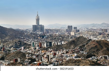 Aerial view of skyline of Mecca holy city in Saudi Arabia