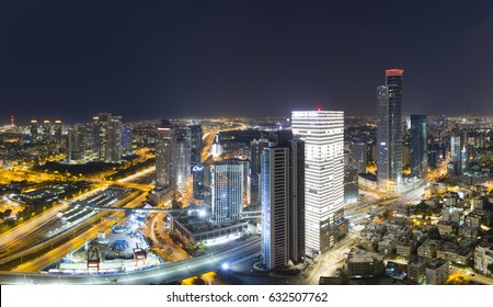 Aerial View - Skyline Panorama Of Tel Aviv And Ramat Gan at Night