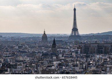 Aerial View, Skyline of Paris with Eiffel Tower during the clear sky day, Paris France