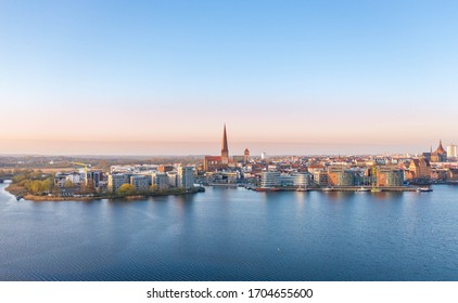 aerial view of the skyline of Rostock, a city at the Baltic sea, view over the river warnow