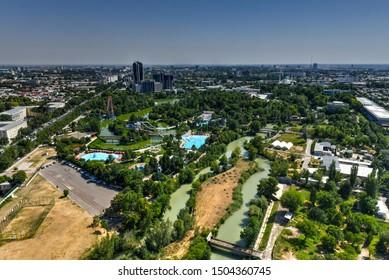 Aerial view of the skyline of Tashkent, Uzbekistan during the day.