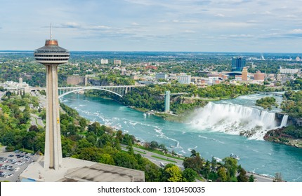 Aerial view of the Skylon Tower and the beautiful Niagara Falls at Canada