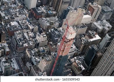 Aerial view of skyscraper building site
