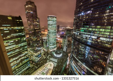 Aerial view  from skyscraper in business City center of Moscow at night
