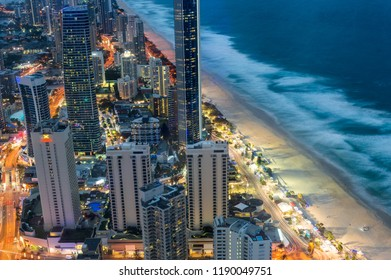 Aerial view of skyscrapers and beach at night. Surfers Paradise, Gold Coast, Australia