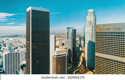 Aerial view of skyscrapers in Downtown Los Angeles, CA