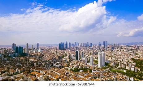Aerial View Of Skyscrapers In Istanbul Turkey