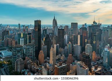Luftbild der Wolkenkratzer von Midtown Manhattan New York City