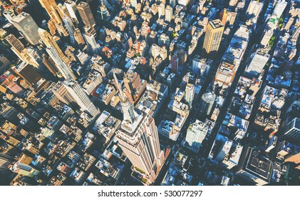 Aerial view of the skyscrapers of Midtown Manhattan New York City